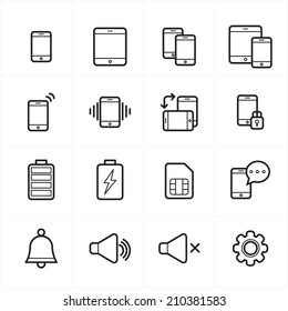 Flat Line Icons For Mobile Icons and Notification Icons Vector Illustration