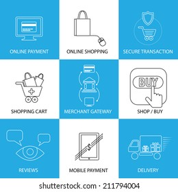 flat line icons on shopping, e-commerce, m-commerce - concept vector. This graphic also represents shopping on websites, payment using credit cards, merchant gateways, secure transactions, delivery