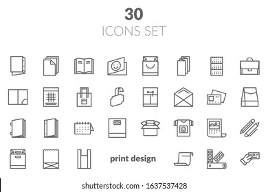 Flat line icons of Print design products, from pamphlet and booklet to greeting card, calendar, folder, flayers, labels, souvenirs, bags and package. Printing industry icons set.