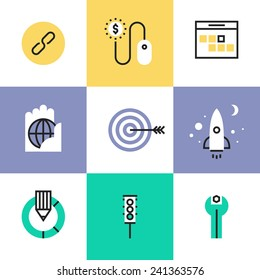 Flat line icons of SEO optimization process, startup website development, usability testing, link building, traffic metrics tools. Infographic icon set, logo abstract design pictogram vector concept.