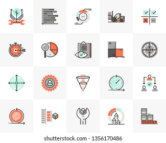 Flat line icons set of agile development, quality control process. Unique color flat design pictogram, outline elements. Premium quality vector graphics concept for web, logo, branding, infographics.