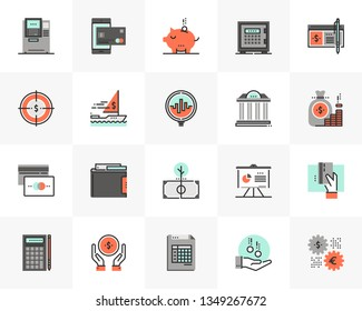 Flat line icons set of banking services, investment strategy. Unique color flat design pictogram with outline elements. Premium quality vector graphics concept for web, logo, branding, infographics.