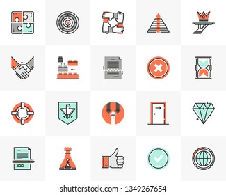 Flat line icons set of business metaphors and market concepts. Unique color flat design pictogram with outline elements. Premium quality vector graphics concept for web, logo, branding, infographics.