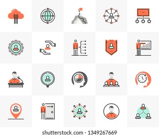 Flat line icons set of business company employee relationship. Unique color flat design pictogram with outline elements. Premium quality vector graphics concept for web, logo, branding, infographics.