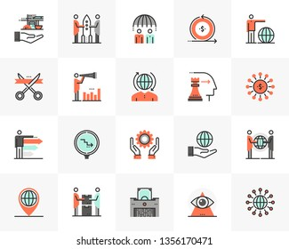 Flat line icons set of business cooperation, corporate management. Unique color flat design pictogram, outline elements. Premium quality vector graphics concept for web, logo, branding, infographics.