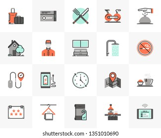 Flat line icons set of city hotel services, room accommodation. Unique color flat design pictogram with outline elements. Premium quality vector graphics concept for web, logo, branding, infographics.