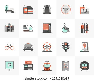 Flat line icons set of city infrastructure and transportation. Unique color flat design pictogram with outline elements. Premium quality vector graphics concept for web, logo, branding, infographics.