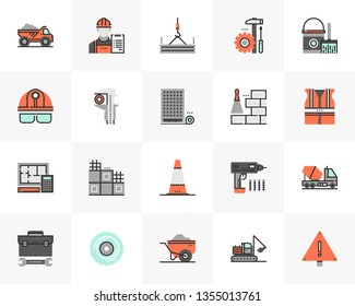 Flat line icons set of construction building, civil engineering. Unique color flat design pictogram with outline elements. Premium quality vector graphics concept for web, logo, branding, infographics