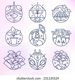 Flat line icons set. Contamination of the environment, ecology, solar, clean energy, petroleum, planet earth, environment.