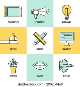 Flat line icons set of creative design process, web product development, studio service, prototype engineering, marketing promotion and success idea. Thin line modern style vector illustration concept