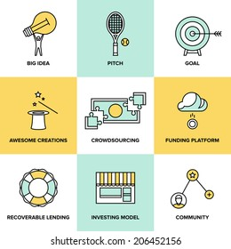 Flat line icons set of crowd funding service, investing platform for creative project, development of small business, startup model and community ideas. Modern design style vector illustration concept