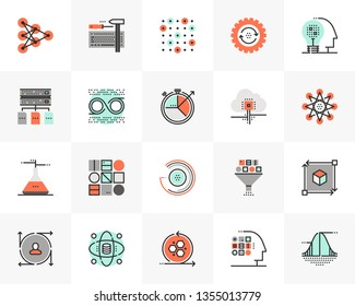 Flat line icons set of data science technology, machine learning. Unique color flat design pictogram with outline elements. Premium quality vector graphics concept for web, logo, branding, infographic