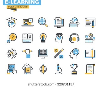 Flat line icons set of e-learning, distance education, online training and courses, cloud solutions for education, video tutorials, staff training, digital library, knowledge for all.