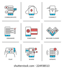 Flat line icons set of everyday smartphone apps using, lifestyle mobile communication, online store shopping, software update. Modern trend design style vector concept. Isolated on white background.