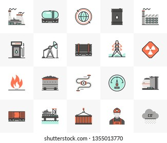 Flat line icons set of fossil fuel energy source, heavy industry. Unique color flat design pictogram with outline elements. Premium quality vector graphics concept for web, logo, branding, infographic