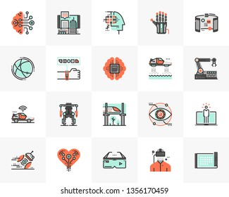 Flat line icons set of future technology, artificial intelligence. Unique color flat design pictogram, outline elements. Premium quality vector graphics concept for web, logo, branding, infographics.