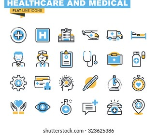 Flat line icons set of health care and medicine theme, medical services, diagnosis and treatment, laboratory, clinic and hospital facilities. Vector concept for graphic and web design.