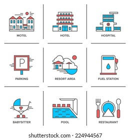 Flat line icons set of hotel resort area, motel building, parking sign, swimming pool, fuel station, restaurant food serving. Modern trend design style vector concept. Isolated on white background.