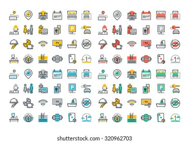 Flat line icons set of hotel services, accommodation, motel facility and hostel amenities, online booking, sport and leisure activities, rent a car service, entertainment, business conference.