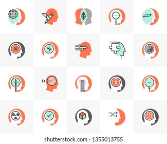 Flat line icons set of human personality, mind thinking process. Unique color flat design pictogram with outline elements. Premium quality vector graphics concept for web, logo, branding, infographics