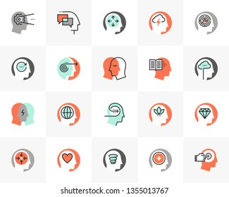 Flat line icons set of human mental process, emotional intelligence. Unique color flat design pictogram, outline elements. Premium quality vector graphics concept for web, logo, branding, infographics