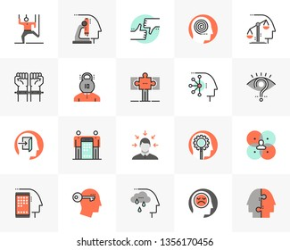 Flat line icons set of human relation problem, character feature. Unique color flat design pictogram with outline elements. Premium quality vector graphics concept for web, logo, branding, infographic