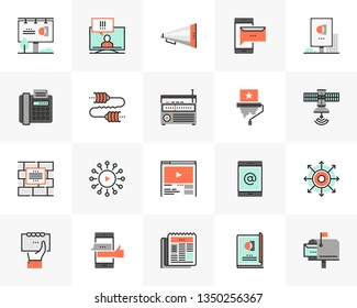 Flat line icons set of media communication, advertising service. Unique color flat design pictogram with outline elements. Premium quality vector graphics concept for web, logo, branding, infographics