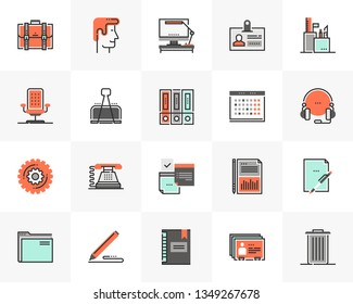 Flat line icons set of modern office stationery, business tools. Unique color flat design pictogram with outline elements. Premium quality vector graphics concept for web, logo, branding, infographics