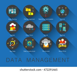 Flat line icons set of network system backup, data management in modern flat design linear pictogram set collection of premium quality web graphics material. Outline concept of mono stroke symbol pack