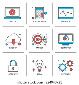 Flat line icons set of office laptop computer, business items, success ideas, security elements, marketing strategy. Modern trend design style vector concept. Isolated on white background.