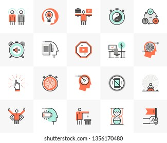 Flat line icons set of proactive personality, productive workflow. Unique color flat design pictogram, outline elements. Premium quality vector graphics concept for web, logo, branding, infographics.