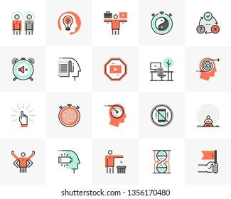 Flat line icons set of proactive personality, productive workflow. Unique color flat design pictogram, outline elements. Premium quality vector graphics concept for web, logo, branding, infographics.