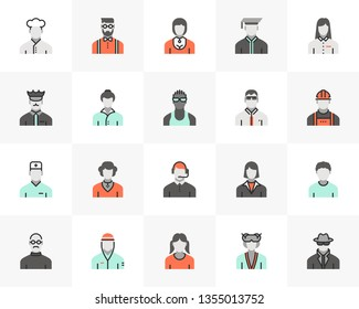 Flat line icons set of profession avatars, human resource employee. Unique color flat design pictogram, outline elements. Premium quality vector graphics concept for web, logo, branding, infographics.