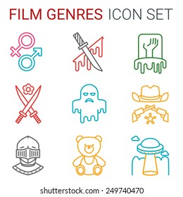 Flat line icons set of professional film production, movie shooting, studio showreel, actors casting, storyboard writing and post production. Different genres of movie
