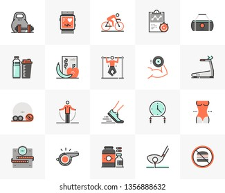 Flat line icons set of recreational fitness training, gym workout. Unique color flat design pictogram of outline elements. Premium quality vector graphics concept for web, logo, branding, infographics