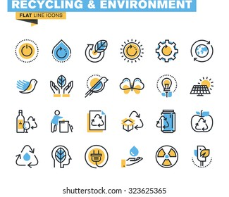 Flat line icons set of recycling theme, waste management , green energy and technology, biodegradable materials, environment. Vector concept for graphic and web design.
