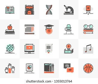 Flat line icons set of university study course, online learning. Unique color flat design pictogram with outline elements. Premium quality vector graphics concept for web, logo, branding, infographics