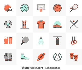Flat line icons set of various professional sports equipment. Unique color flat design pictogram with outline elements. Premium quality vector graphics concept for web, logo, branding, infographics.
