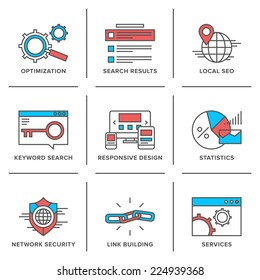 Flat line icons set of website search engine optimization, seo analytics, network security, keyword management, webpage traffic development. Modern trend design style vector concept.