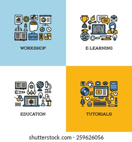Flat line icons set of workshop, e-learning, education, tutorials. Creative design elements for websites, mobile apps and printed materials