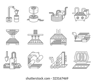 Flat line icons vector collection for elements of food processing. Manufacturing equipment, preparing food to distribution and trade. Design elements for business and website