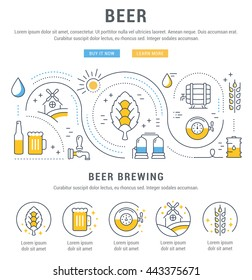 Flat line illustration of beer making, wheat cultivation and sale of alcoholic beverages. Concept for web banners and printed materials. Template with buttons for website banner and landing page.