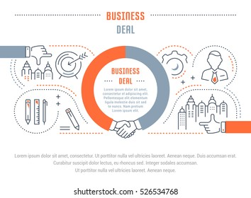 Flat line illustration of business deal. Concept for web banners and printed materials. Template with buttons for website banner and landing page.