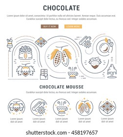 Flat line illustration of Chocolate. Concept for web banners and printed materials. Template with buttons for website banner and landing page.