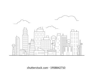 flat line illustration city vector, skyscraper building graphic background concept