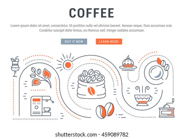 Flat line illustration of Coffee. Concept for web banners and printed materials. Template with buttons for website banner and landing page.