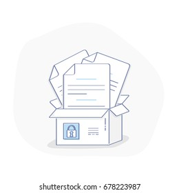 Flat line illustration concept of File Protection, Data Security and Privacy, Safe Confidential Information. Full of documents box with lock. Isolated vector symbol.