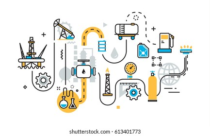 Flat line illustration concept of graph, plan, scheme, mechanism, algorithm, step of oil and gas production industry process, petroleum product, extraction, valving, oil well pump for website banner