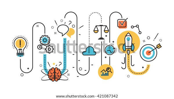 Flat line illustration concept of scheme, plan graph born start up business project startup process from idea to success for website banner and landing page, infographics, logo and icon, print
