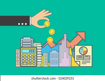 Flat line illustration design for property investment, real estate management